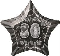 "Glitz 20"" Star Balloon Black & Silver - Age 80"